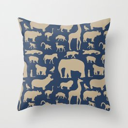 African Fauna // Khaki & Navy Throw Pillow