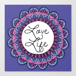 Love Life Mandala Ultraviolet Canvas Print