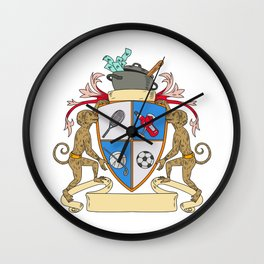 Monkey Money Cook Pot Sports Wine Coat of Arms Drawing Wall Clock