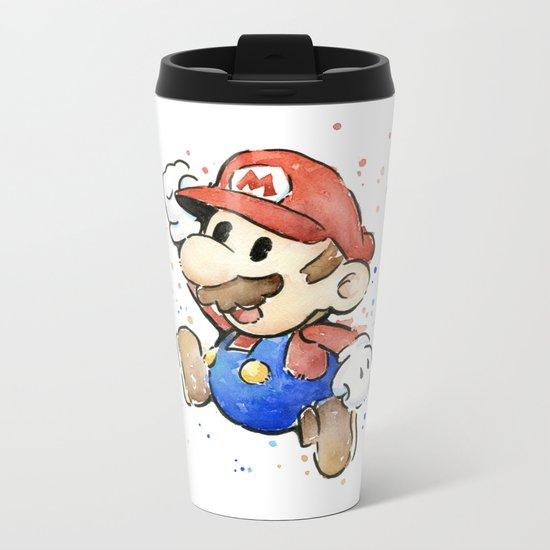 Mario Watercolor Metal Travel Mug