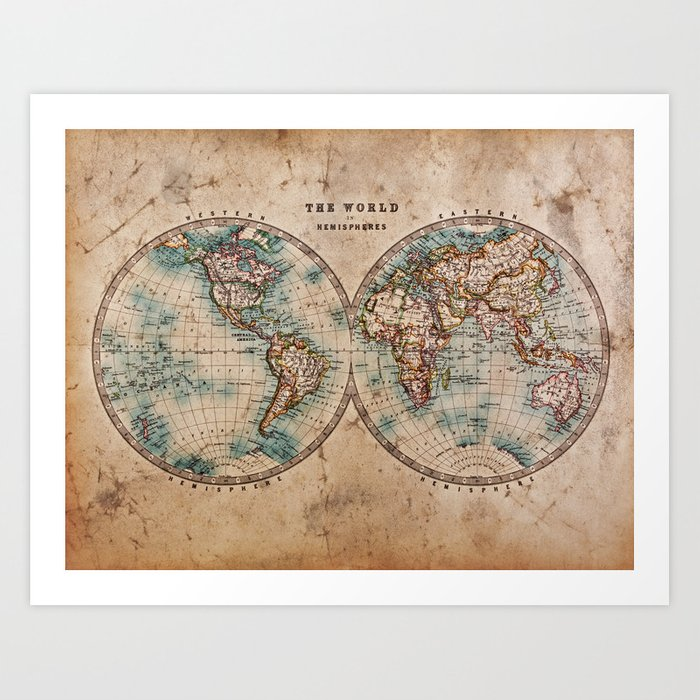 Vintage Map Of The World 1800 Art Print By Foxxmap Society6