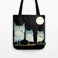 owls Tote Bags featuring Owls by Brontosaurus
