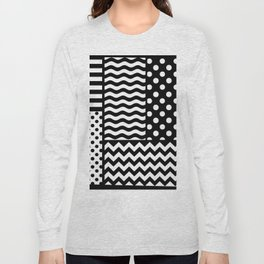 Mixed Patterns (Horizontal Stripes/Polka Dots/Wavy Stripes/Chevron/Checker) Long Sleeve T-shirt