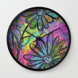 """Flower Madness"" | Original painting by Mimi Bondi Wall Clock"