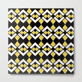 Zig Zag Pattern Yellow Metal Print