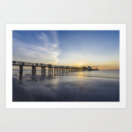 Sunset over Naples Pier in Florida from the beach Art Print