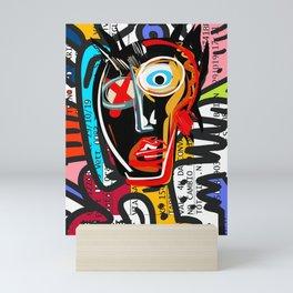 Graffiti Street Art Spirit Head on Italian Train Ticket Scanned  Mini Art Print
