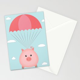 Baby Pig in a Parachute Stationery Cards
