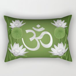 Om Symbol with Lotus flowers on green Rectangular Pillow