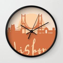 LISBON PORTUGAL CITY SUN SKYLINE EARTH TONES Wall Clock
