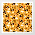 Happy halloween ghosts, brooms, eyeballs and witch hats pattern by goosh