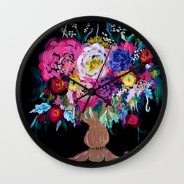 Bright Pinks, Purple, Orange and Yellow Bouquet in Gold Vase Floral Painting with Black Background Wall Clock