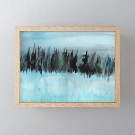 Dark Forest Across the Icy Lake Framed Mini Art Print