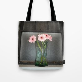 pink daisies ~ flowers on vintage sill Tote Bag