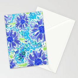 Indigo Floral Splash Stationery Cards