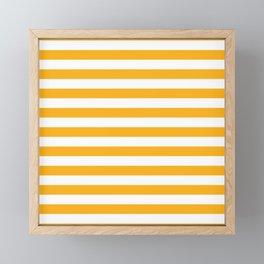 Beer Yellow and White Horizontal Beach Hut Stripes Framed Mini Art Print