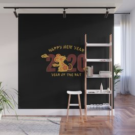 happy new year 2020 year of the rat 1 Wall Mural