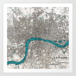 London on the Thames, Sepia and Teal Blue Vintage-style Map Art Print