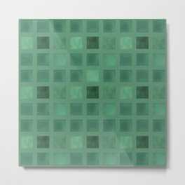 Colorful geometric pattern grunge Tile . Green emerald color . Metal Print