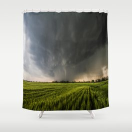 Beautiful Storm - Tornado Emerges From Rain Over Wheat Field in Kansas Shower Curtain