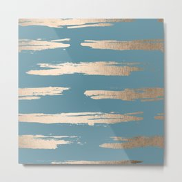 Abstract Painted Stripes Gold Tropical Ocean Blue Metal Print