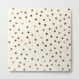 Copper Polka Dots With Red Hint Pattern Metal Print