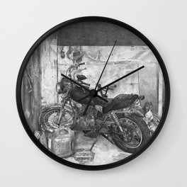 Old Motorcycle Wall Clock