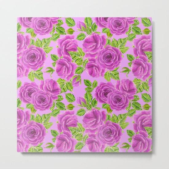 Violet roses watercolor pattern design Metal Print