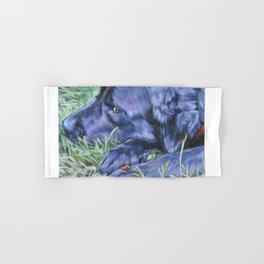 Black Lab LABRADOR RETRIEVER dog portrait painting by L.A.Shepard fine art Hand & Bath Towel