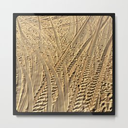 Tire tracks in the sand. Metal Print
