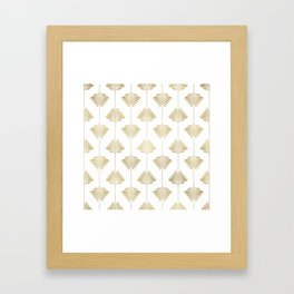 Gold leafs art-deco pattern Framed Art Print