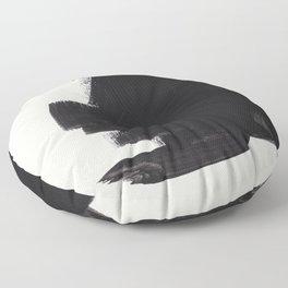 Mid Century Modern Minimalist Abstract Art Brush Strokes Black & White Ink Art Colorfield Floor Pillow