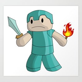 Mine Craft Steve With Sword & Flame Art Print