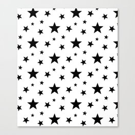 Stars pattern White and Black Canvas Print