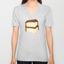 Chocolate Cake Slice Pattern - Blue Unisex V-Neck
