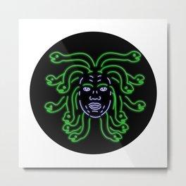 Head of Medusa Oval Neon Sign Metal Print