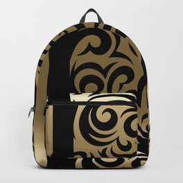 Gold and Black Swirl Pattern Backpack
