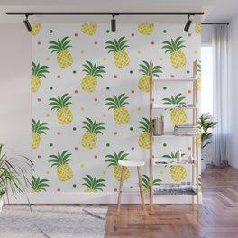 Tropical fruit sunshine yellow green pineapple polka dots Wall Mural