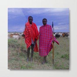 Two Teens in Africa Tending to Village Cattle Metal Print