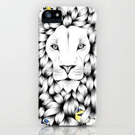 Beautiful Hand Drawn Lion Pointillism Illustration with Blue Tits iPhone Case