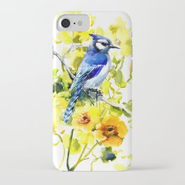 BLue Jay and Yellow Flowers iPhone Case