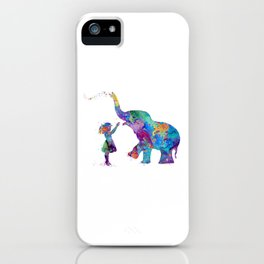 Girl And Elephant Colorful Watercolor Kids Art iPhone Case