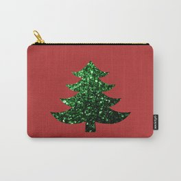 Sparkly Christmas tree green sparkles on red Carry-All Pouch
