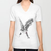 winter soldier V-neck T-shirts featuring winged winter soldier by Zee Mendoza