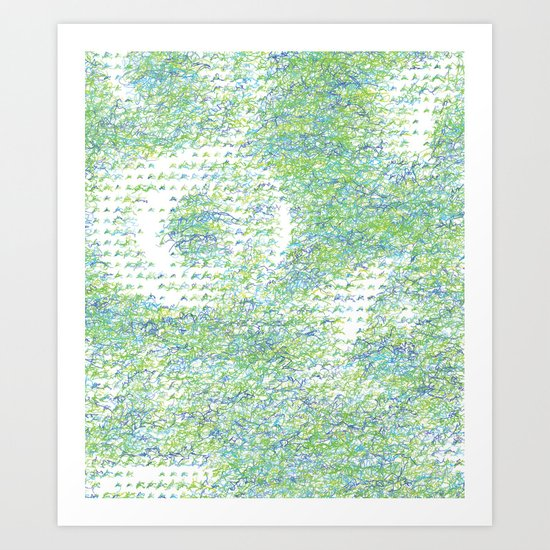 Peacock Feathers Doodle Art Print
