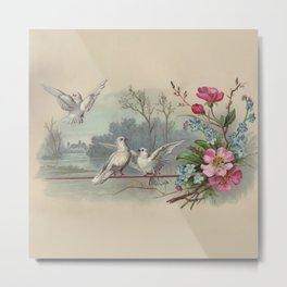 Vintage White Forest Birds Metal Print