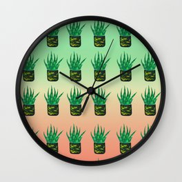 Snake plant pattern - Gradient Wall Clock