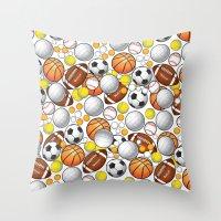 sport Throw Pillows featuring Sport Balls by Martina Marzullo Art