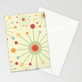 Mid Century Modern Retro 1970s Inspired SunBurst in Muted Colors Stationery Cards