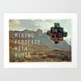 Mixing Ferocity with Humor (Sculpture and Chiricahua Mountains, AZ) Art Print